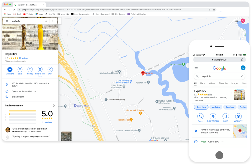 Explainly Google Business Page